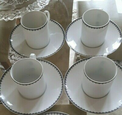 THOMAS OF GERMANY ESPRESSO CUPS & SAUCERS (x 4) - WHITE / BLACK LACE PATTERN RIM • 17.50£