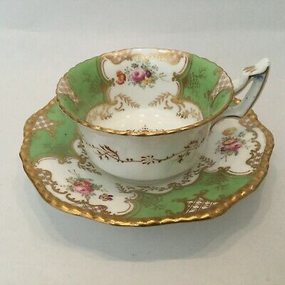 Antique 19th Century Green Coalport Cup And Saucer Batwing Y2665 • 9.99£
