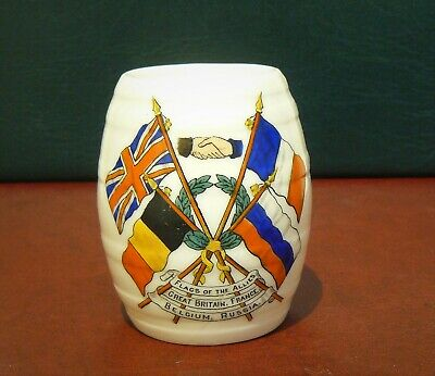 GOSS Crested China - BURTON BEER BARREL - Crested With THE FLAGS OF THE ALLIES • 0.99£