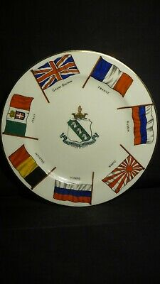 Ww1 Goss Plate - 7 Flags Of The Allies • 25£