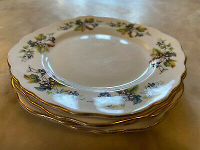 Vintage Ridgway Royal Vale Bone China Tea Side Plates X4 155mm D Autumn Berries • 12£