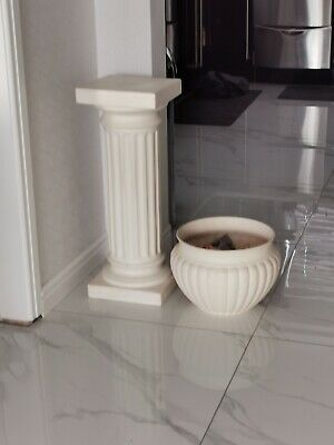 Tall Jardiniere And Stand Pillar & Bowl White  • 35£