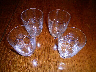 Crystal Glass Whisky Tumblers Vintage Fine Glass Set Of 4 • 19.99£