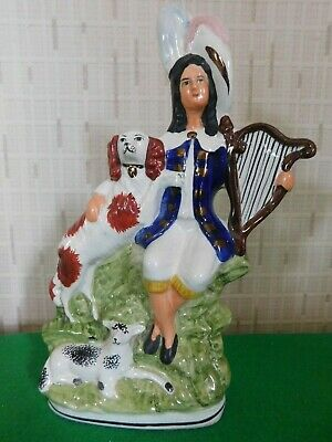 Antique Staffordshire Flatback Minstrel With Lamb And Dog  • 29.85£