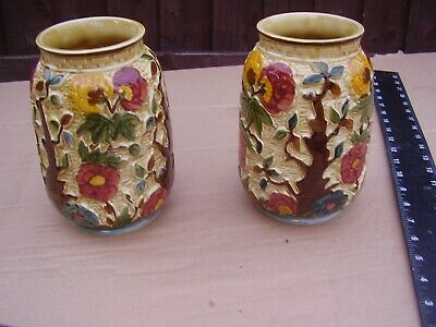MATCHED  PAIR, H J Wood Staffordshire Indian Tree Hand Painted Vases, Numbered • 28£