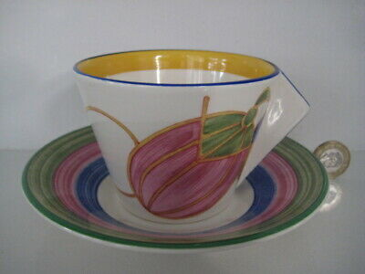 Clarice Cliff Wedgwood Pastel Melon Tea Coffee Cup & Saucer Deco Pottery England • 38.99£