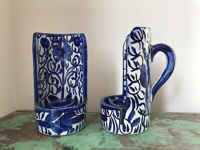 Pair Of Vintage Handpainted Blue & White Pottery Chambersticks, Candlesticks • 20£