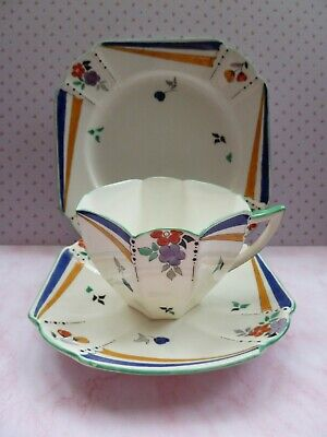 Shelley Queen Anne Trio Cup Saucer & Plate Flashes And Flowers. • 145£