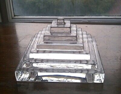 Dartington Glass Clear 7 Step Pyramid Paperweight FT 247  1980 Frank Thrower  • 22£