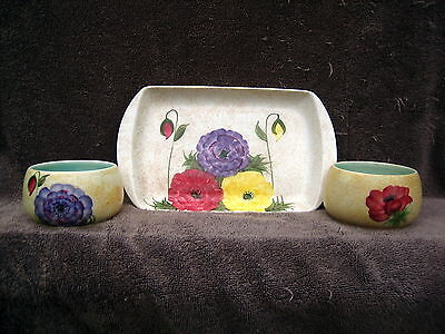 Art Deco Or Vintage Handpainted With Flowers Radford Pottery Tray With 2 Bowls  • 25£