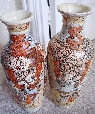 Japanese Satsuma Vase - Samurai Warriors Crackled Porcelain BIG Vase, Set Of 2  • 45£