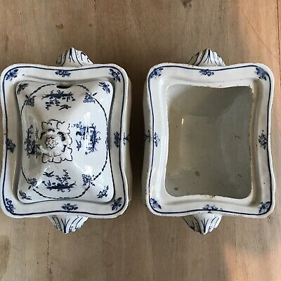 Pair Of Booths Blue And White Tureens. Antique Pheasant Design • 19£