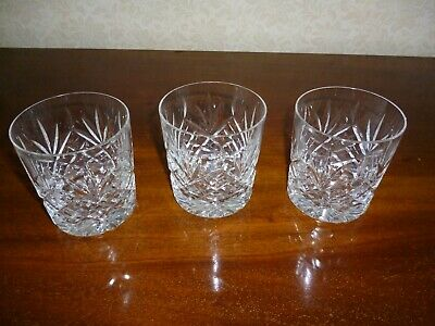 Three Small Edinburgh Crystal Cut Glass Tumblers - Excellent Condition • 14.99£