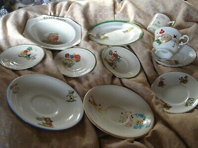 Assortment Of Vintage Antique Nursey Bowls Plates Cup Sooty Humpty Dumpty Etc • 20£