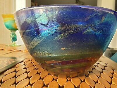 Large NIGHTSCAPE BOWL ISLE OF WIGHT GLASS STUDIO MICHAEL HARRIS SIGNED C1985 • 895£