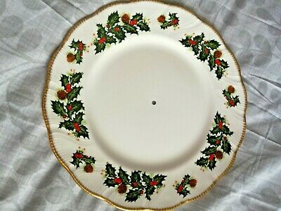 Queen's Rosina 'Yuletide' 11  Cake Stand Plate Holly Berry Scallop Rim Christmas • 10£