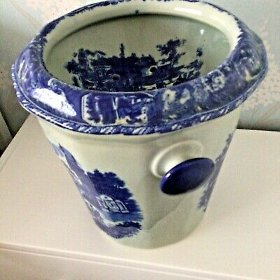 Antique Victoria Ware Flow Blue Print Chamber Pot Potty, Bucket, With Insert • 45£