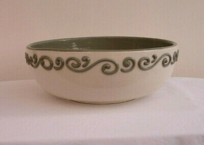 C H Brannan Bowl 9  Dameter Cream On The Outside With Piping Green On The Inner • 24.50£
