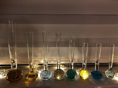 Choice Vintage / Retro CONTROLLED BUBBLE GLASS BUD STEM VASES Blue Amber Green • 6.99£