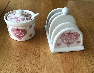 Queens Made With Love Stoneware Toast Rack & Sugar/Jam Pot Set. Brand New. • 8.99£