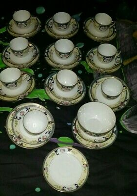 Vintage Noritake 34 Piece Cups, Saucers, Side Plates + Bowl Very Good Condition  • 30£