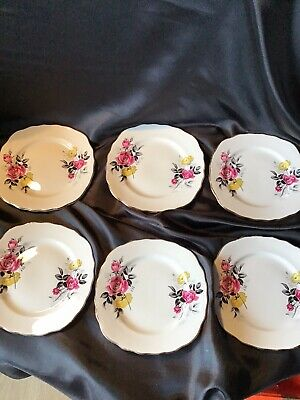 Royal Vale Side Plates  Pink Flowers  & Yellow Flower  Set Of 6 • 11.50£