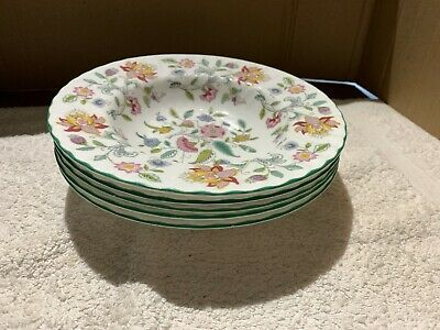 5 Minton Haddon Hall Soup Bowls  With The Green Rim • 32£