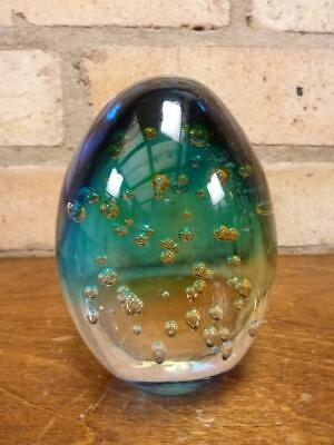 Lovely Glass Blue Green Paperweight Controlled Bubbles • 17.99£
