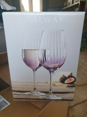 Galway Crystal Wine Glass Set Amethyst New Boxed • 19.99£