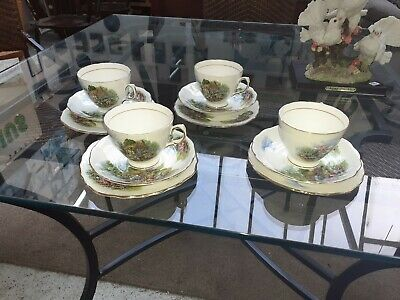 Vintage Royal Vale Country Cottage Trios X4 • 10£