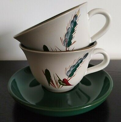Denby Greenwheat 2 X Cups And A Saucer (larger Size) • 3£
