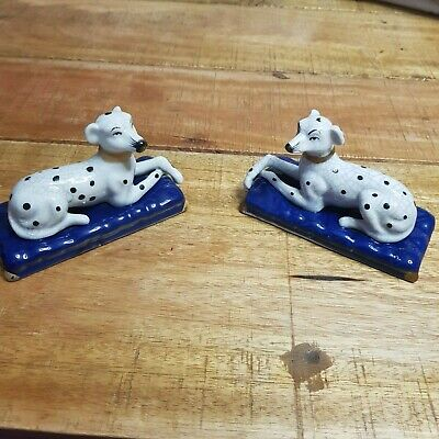 A Pair Vintage Staffordshire Pottery Dalmatian Figurines. Very Good Condition.   • 20£