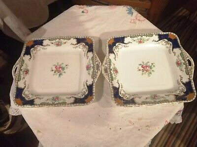 Pair Of Handsome Blue, White. & Gold Vintage KENMARE Fenton Cake /biscuit Plates • 9.99£