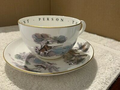 Royal Worcester Large Cup & Saucer With Hunting Scenes • 5£