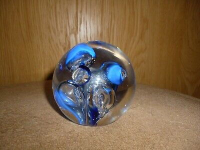 Pretty Langham Glass Paperweight - Blue Bubbles With Label • 5£