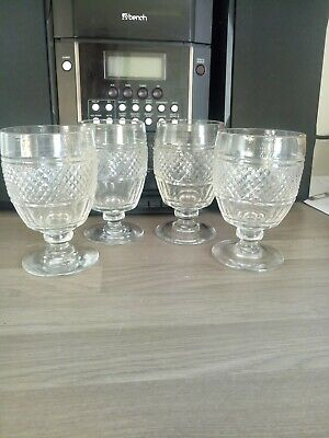 Four Antique Cut Crystal Drinking Glasses 19th Century Rough Pontil Base Rummer  • 51.11£