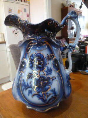 Vintage Huge Blue/white Floral Jug - 13 Inch High • 7.50£