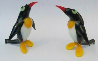 2 Penguin Ornaments Coloured Glass Hand Made Brand New • 10£