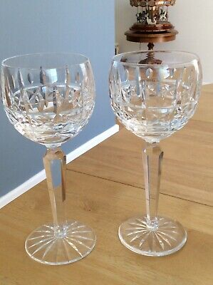 "Waterford Crystal Cut Glass ""Kylemore"" 2 Wine Goblets 7 3/8""Tall  Ex Con  • 46£"