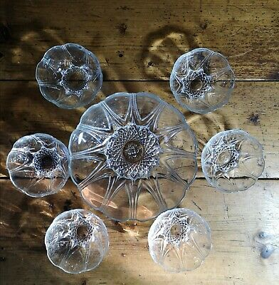 Vintage French Pressed Glass Dessert Bowl & 6 Dishes • 7£