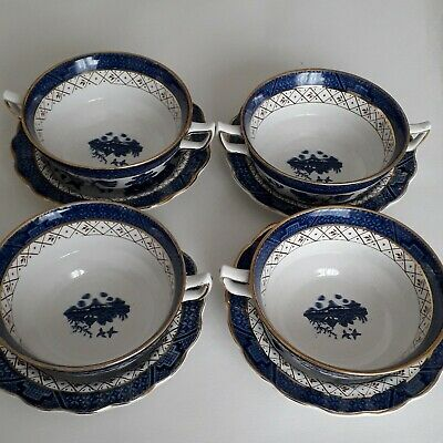 4  X Booths Real Old Willow - Blue & White A8025 - Soup /  Bowls 2 Handles • 40£