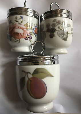 Trio Of VintageRoyal Worcester Porcelain Egg Coddlers 2 X Small 1 X Large • 12.50£