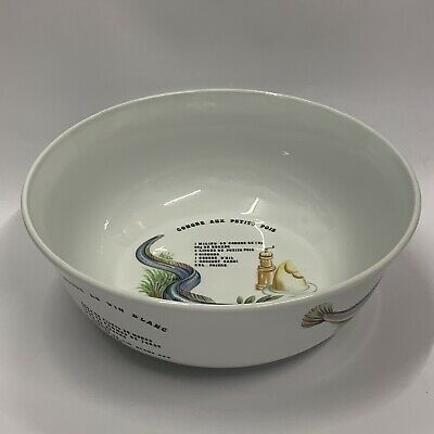 """Large Ceramic Bowl Decorated With French Fish Recipes 12"""" Diameter • 10£"""