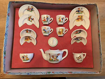 VINTAGE Nursery Rhymes Children's Tea Set 1950's Rare Complete Inc Box • 39.99£