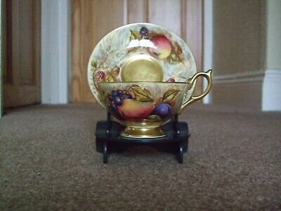 Aynsley  Orchard Gold Cup And Saucer With Stand • 64£