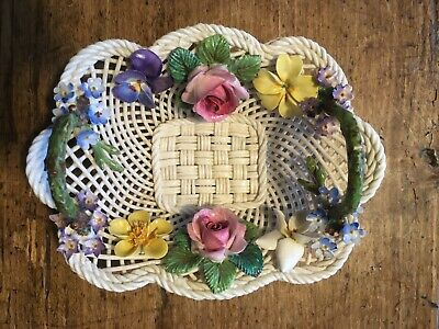 Vintage Elegant Crown Staffordshire China Woven Basket With China Flowers  • 20£