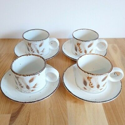 4 X Vintage MIDWINTER Stonehenge Wild Oats Tea / Coffee Cups And Saucers • 6£