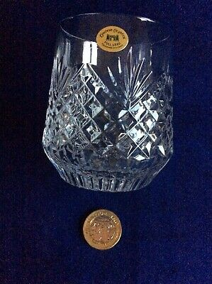 Vintage Tyrone Irish Crystal Whisky Glass Flat Bottomed  Antrim Stamped  • 18£