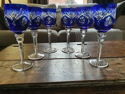 Set Of 6 Bohemian Crystal Cobalt Blue Cut To Clear Wine Glasses See Description • 240£