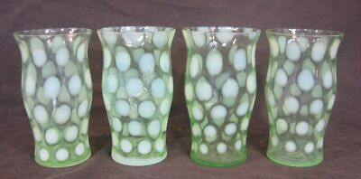 Set Of 4 Northwood Green Opalescent Coin Spot 8oz Tumblers Mint 5.25  Tall • 49.74£
